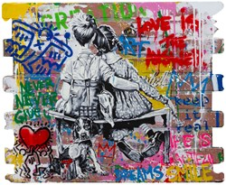 Work Well Together by Mr. Brainwash - Original Painting on Box Board sized 32x27 inches. Available from Whitewall Galleries